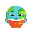 smart earth planet character reading a book cute vector image vector image
