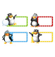 Square labels with cute penguins vector image