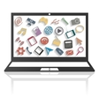 Using a laptop vector image vector image