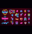 valentines day glowing neon icons pack vector image