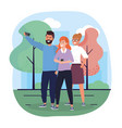 women and man friends with smartphone and trees vector image