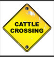 yellow cattle crossing sign vector image vector image