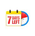 7 days left calendar clock icon symbol