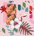 abstract composition tropical leaves flowers vector image