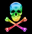 abstract skull and crossbones on black vector image