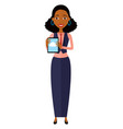 african american woman character with tablet vector image vector image