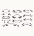 banners ribbons in vintage engraving style sketch vector image
