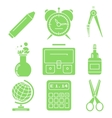 Black school goods green linear icons Part 1 vector image vector image