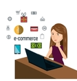 cartoon woman thinking e-commerce isolated design vector image