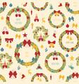 Christmas wreath seamless pattern decoration