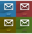 Color set mail envelope Flat modern web button vector image vector image