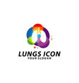 colorful lungs logo design concept health lungs vector image