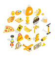 cultural rest icons set isometric style vector image