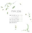 design herb template calendar 2018 vector image vector image