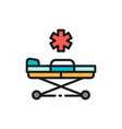 emergency stretcher trolley flat color line icon