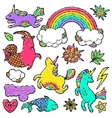 Fashion patch badge elements in cartoon 80s-90s vector image vector image