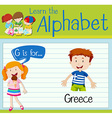 Flashcard letter G is for Greece vector image vector image