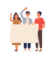 group people with empty banner flat vector image vector image