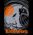 grungy halloween background with owl vector image