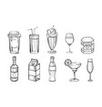 hand drawn drinks set alcoholic and non alcoholic vector image