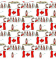 hand drawn seamless pattern with canada flag and vector image vector image