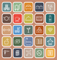 Hotel line flat icons on orange background vector image vector image