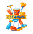 housekeeping background with cleaning items vector image vector image