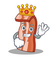 king bacon mascot cartoon style vector image