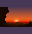 landscape forest in mountain in sunset vector image vector image