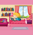 little girl working on computer in bedroom vector image vector image