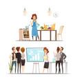 motherhood cartoon work family concept vector image vector image