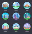 pack of world cities 8 vector image vector image