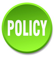 policy green round flat isolated push button vector image vector image