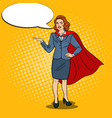 pop art happy super business woman in red cape vector image vector image