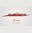 radom skyline in red vector image vector image