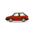 red car hatchback side view gas engine alloy vector image