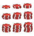 red poker chips stacks 3d realistic set vector image vector image