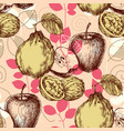 retro pattern autumn fruits and foliage background vector image vector image