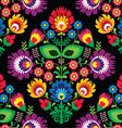 Seamless traditional floral Polish on black vector image vector image