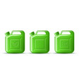 set green gasoline jerrycan with leaf symbol vector image