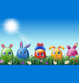 set of easter eggs cartoon character with bunnies vector image