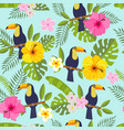 set of tropical flowers of leaves and birds vector image
