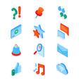 social media symbols - modern isometric icons set vector image