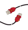 usb cable plug red cartoon design vector image
