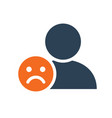 user profile with sad face line icon sad rating vector image vector image