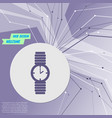 watch icon on purple abstract modern background vector image