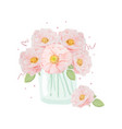 watercolor hand drawn pink english rose bouquet vector image