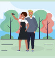 woman and man couple with smartphone and trees vector image