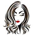 women long hair style icon logo on white