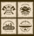 woodworks and carpentry four colored retro emblems vector image vector image